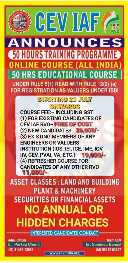 SCHEDULE FOR 50 HRS EDUCATIONAL COURSE UNDER RULE 5(1) READ WITH RULE 12(2)(a) FOR REGISTRATION AS VALUERS UNDER THE BANNER OF CEV IAF RVO