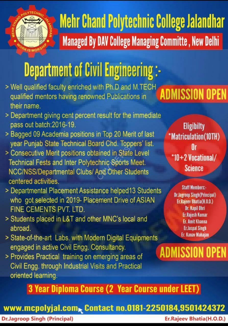 Read more about the article ADMISSION OPEN IN THE BEST POLYTECHNIC OF THE CITY: MEHR CHAND POLYTECHNIC COLLEGE, JALANDHAR