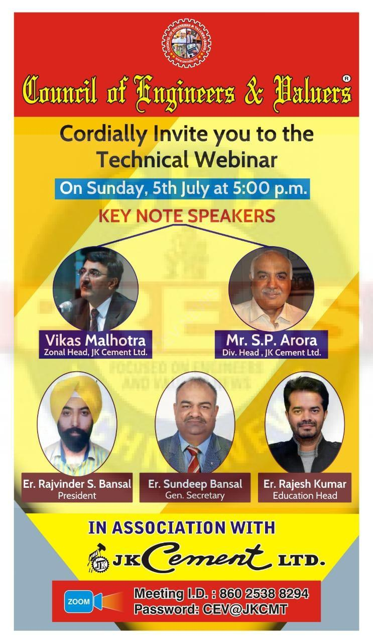 CEV INDIA ANNOUNCES TECHNICAL WEBINAR ON DURABILITY OF CONCRETE IN ASSOCIATION WITH J K CEMENT