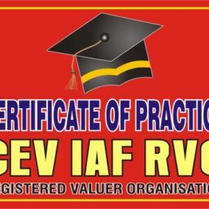 CERTIFICATE OF PRACTICE PROGRAMME BY CEV IAF RVO