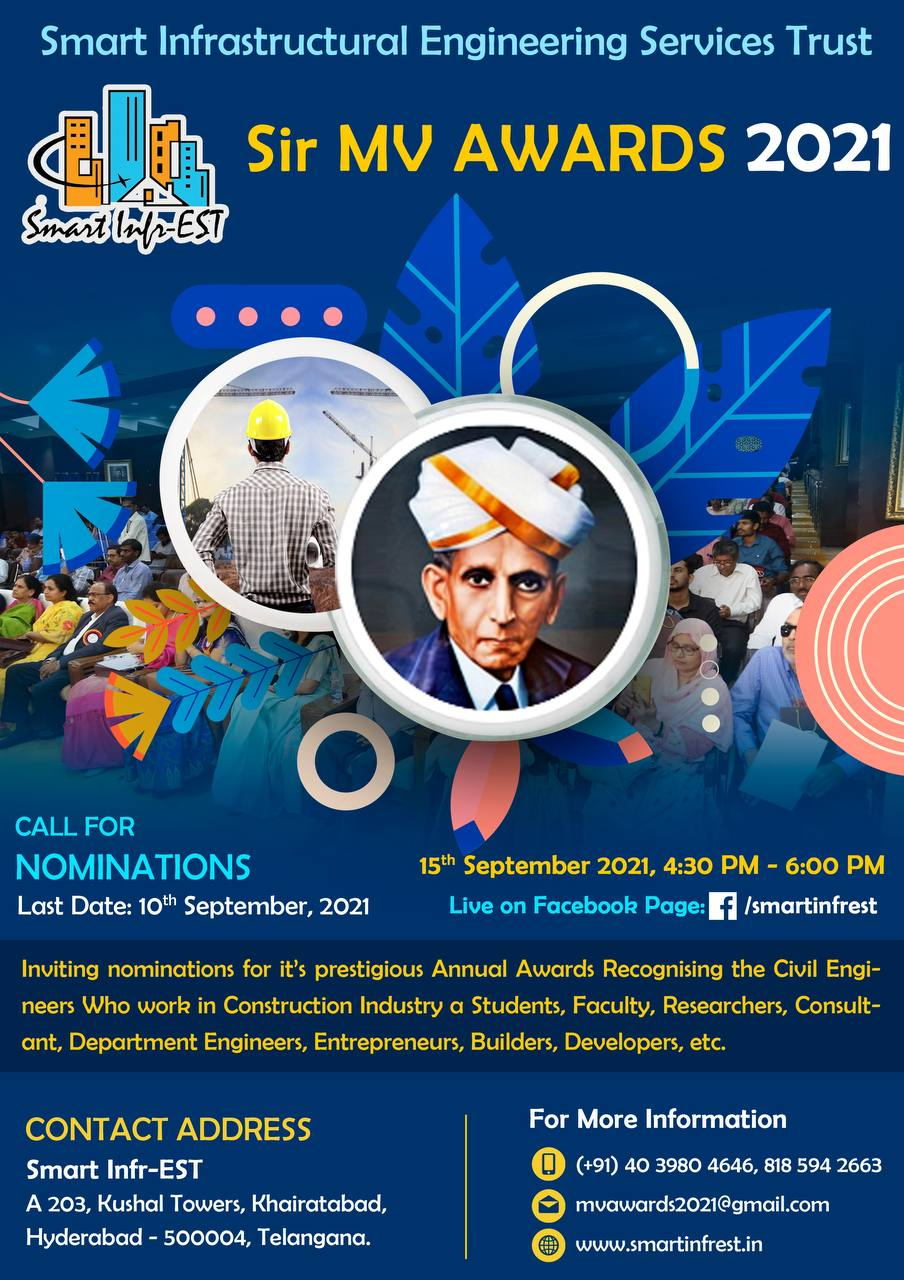 Read more about the article Smart Infr-EST, in the honor of Sir Mokshangundam Visvesvaraya, has launched an award to recognize and felicitate the best of our Civil Engineering fraternity. This award will be presented on Engineers' day (September 15th): Er. P Surya Prakash Mentor, Smart Infr-EST Managing Director – SatyaVani Projects and Consultants Pvt. Ltd.